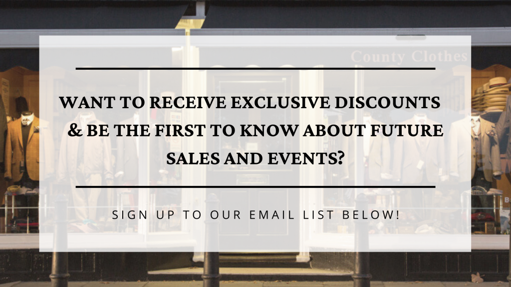 Sign up to email during lockdown for all of our menswear news