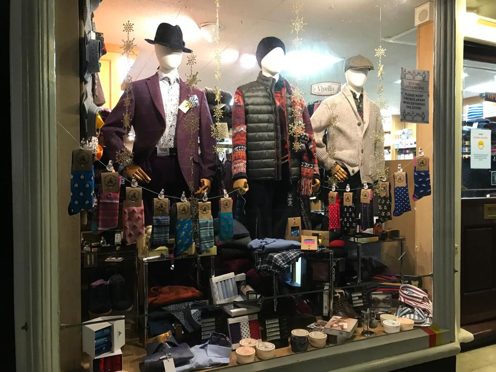 Our December window display - check the opening hours of our stores